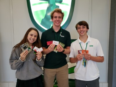 Students with collected gift cards