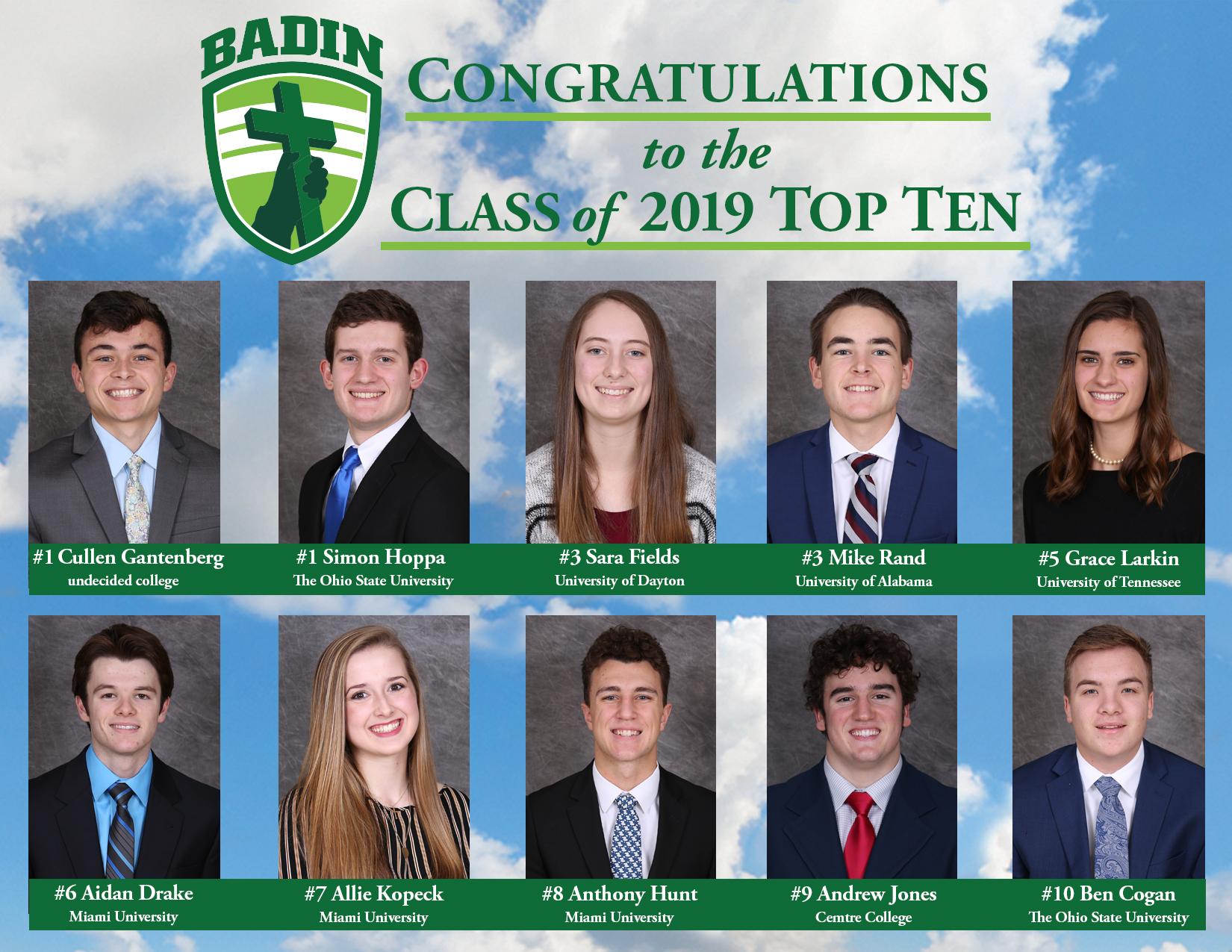 0e84741ff5e Congratulations to the Class of 2019 Top Ten! (5 19)
